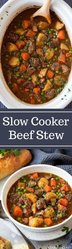 Slow Cooker Beef Stew - This beef stew is the definition of comfort food! It is packed with flavor and that low and slow cooking yields the most tender beef. A staple recipe! #beefstew #soup #recipe via @cookingclassy