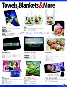can be designed with your photos, logos, and other designs #towels #shower #bath #body #vacation #customization #bibs #baby #pillows #bed #blankets