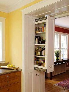 sliding cupboard in a doorway