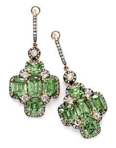 Pair Of Natural Demantoid Garnet And Diamond Ear Pendants