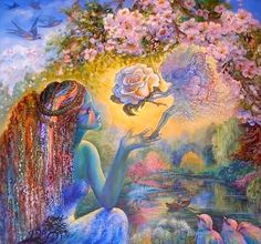 """The Messenger (zoom)"" par Josephine Wall Josephine Wall, Rose Group, Maya, Rose Video, Age Of Aquarius, Libra, New Earth, Flower Fairies, Divine Feminine"