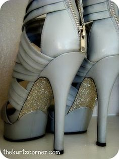 I'm doing this to EVERY pair of shoes I own.  Glitter and Mod Podge awesome!
