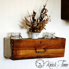 Repurposed Vintage - Knick of Time. Repurposed drawer to shelf. http://knickoftime.net/project-gallery/repurposed-vintage