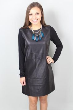 Bad to the Bone Leather Shift Dress: $48