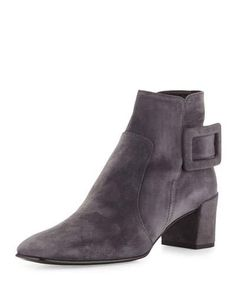 ROGER VIVIER Polly Suede Side-Buckle Ankle Boot, Dark Gray. #rogervivier #shoes #boots