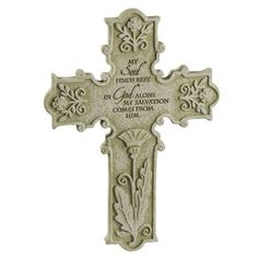 """Grasslands Road Loving Thoughts """"My soul finds rest in God"""" Remembrance Cross Plaque with Metal Stand by Grasslands Road, http://www.amazon.com/dp/B0055MVDYU/ref=cm_sw_r_pi_dp_PlhQpb1GR3R8B"""