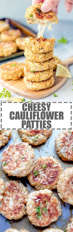 Cheesy Cauliflower Patties Recipe {Baked} - easy to make and fun to eat, these mini cauliflower and mozzarella patties are great for both kids and adults. via @cookinglsl