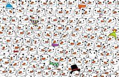 In deze illustratie van de Hongaarse Dudolfstaan héél veel sneeuwpoppen afgebeeld. Maar… er zit ook nog een pandabeer verstopt. Kun jij hem vinden? Wij moesten in ieder geval behoorlijk lang zoeken. Maar als je 'm eenmaal ziet is-ie niet meer te missen! Dudolf Nog ééntje dan Kun jij tussen al deze uilen ook een kat …