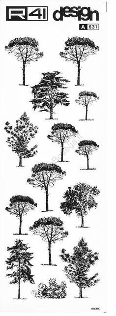 trasferibilir41 Alberi in alzato, NERO. Trasferelli-Trasferibili R41 in fogli 9x25cm. p. 340 . (architectural trees drawing)