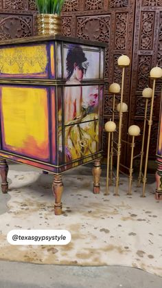 Funky Painted Furniture, Bohemian Furniture, Decoupage Furniture, Painted Chairs, Refurbished Furniture, Colorful Furniture, Art Furniture, Unique Furniture, Vintage Furniture