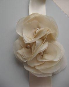 Wedding bridal sashes ribbon Blush Champagne romantic by LeFlowers, $65.00
