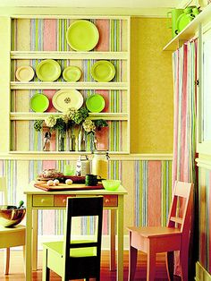 Love these bright colors and creative ways to bring them into the space