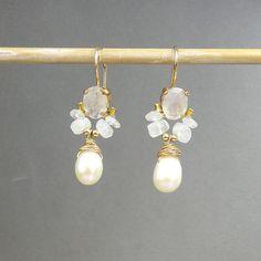 Gemstone Earrings Moonstone Pearl Angel Earrings by yifatbareket