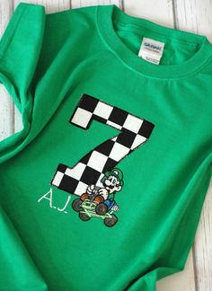 Personalized Mario Kart Luigi Birthday TShirt by freshsqueezedbaby, $29.00