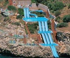 Sicily, Italy  Slide into the Mediterranean Sea,