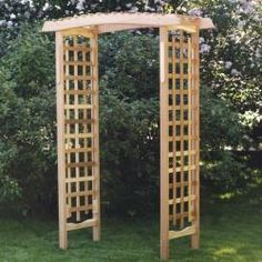 This handsome pergola-style arbor, with its arched header has plenty of lattice on its well structured side panels for your vines to climb. This arbor also converts easily into a charming garden seat with the addition of our optional Garden Arbor Benc Cedar Pergola, Pergola Garden, Garden Seating, Pergola Shade, Diy Pergola, Garden Bridge, Pergola Ideas, Patio Ideas, Pergola Plans