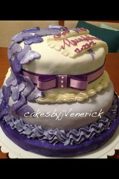 Purple butterfly fondant cake for Baptism