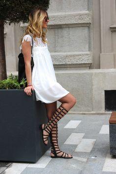 White dress + gladiator sandal.