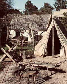 Fencible Private James Hanson, his wife and his two children lived in a tent similar to this one at the Village, soon after they arrived in New Zealand in 1849. ⛺️ These tents provided temporary accommodation to fencibles because the wooden cottages they were promised before their journey, were not ready when they arrived.  Understandably, Private Hanson started to build a raupo cottage as an alternative means of shelter because they were cooler in summer, warmer in winter and didn't leak as… James Hanson, Tent Living, Wooden Cottage, Outdoor Furniture, Outdoor Decor, Tents, Cottages, New Zealand, Shelter