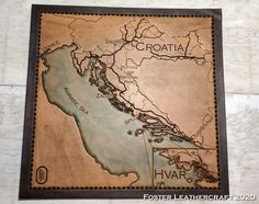 Scale Map, Unique Gifts, Best Gifts, Third Anniversary, Custom Map, Leather Craft, Hand Carved, Carving