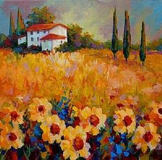 Tuscan Sunflowers by Marion Rose Acrylic ~ 16 x 16