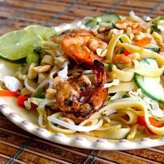 Saigon Noodle Salad is a good summer meal. You can do all your prep in the morning, and then assemble the salad right before dinner. Shrimp Salad Recipes, Seafood Recipes, Cooking Recipes, Shrimp Salads, Seafood Salad, Noodle Recipes, Cooking Ideas, Main Dish Salads, Main Dishes