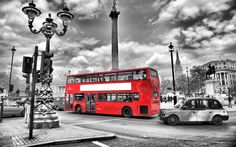 London Black And White And Red Wallpaper Black And White Bus Lights England London Street Blur Road London