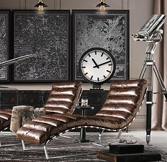 Living Room - Distressed leather lounges, railway clock, framed maps with wall lights, chrome telescope. Home Interior, Interior Design, Industrial Chic Decor, Urban Loft, Leather Lounge, Bedroom Themes, Rustic Furniture, Lawn Furniture, Wicker Furniture