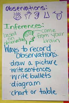observations and inferences science anchor chart - New Sites Science Inquiry, Physical Science, Teaching Science, Teaching Ideas, Science Experiments, Teaching Methods, Science Ideas, Teaching Writing, Science Activities