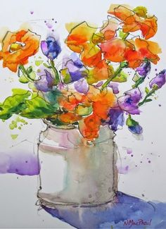 """SOLD Lots of close ups of this one at my Etsy Shop WatercoloursbyNora . $50 - 5x7""""painting with 8x10""""mat."""