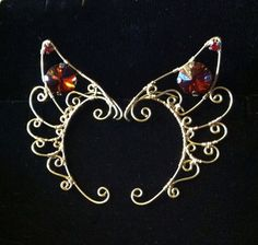 Wire Faerie Elf Ears 'Wing' Style in brass and by StarlitSkies, $64.00