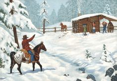 Christmas at the Line - Gallery of Western Oil Paintings, Fine Art ...