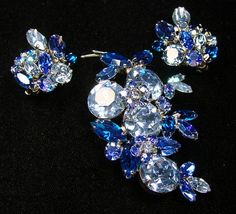 Vintage Sherman Brooch Matching Earrings Swarovski Rhinestones Original Box | eBay
