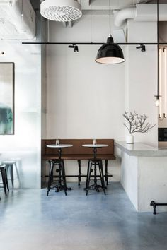 """Interior designer Richard Lindvall transformed a 2000 square meter sausage factory into Usine, an industrial style restaurant located in Stockholm, Sweden. """"Materials of high quality were selected … Concept Restaurant, Cafe Restaurant, Restaurant Design, Modern Restaurant, Stockholm Restaurant, Industrial Restaurant, Cafe Bar, French Bistro, Bar Seating"""