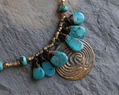 Labyrinth Necklace with Faceted Brass Beads and by Ginny Wolf Studio http://www.etsy.com/shop/GinnyWolfStudio