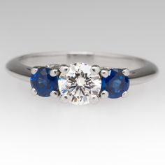 Tiffany & Co Three Stone with Sapphire Side Stones Ring