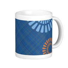Easily add your image for a really personal gift.   Check out matching coasters here... http://www.zazzle.com/cheerful_blue_plaid_orange_green_drink_coasters-163178877568983280             #blue #plaid #Scottish