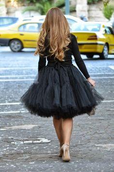 Black tule skirt. Sorry I'm really really girly.