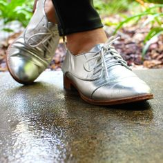 Silver brogues go with everything. Silver shoes, flats, lace ups