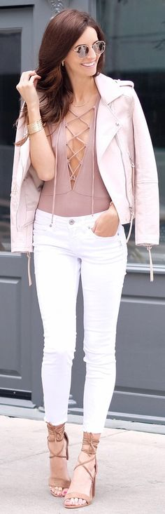 Pink Leather Jacket / Tan Laced Up Top / White Skinny Jeans / Camel Sandals