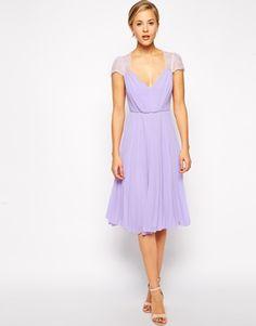 Chiffon midi dress purple