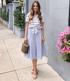 3.17 a mix of spring stripes (Equipment 'keira' tie-front stripe shirt + Nordstrom Collection stripe linen blend skirt in blue stonewash/white stripe + Joie 'banner' sandals + Mark Cross bag)