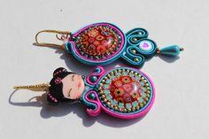 kokeshi earrings, handmade, OOAK