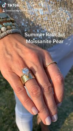 Summer Rain Pear Moissanite Hammered Halo Engagement Ring Pear Moissanite nearly colorless 12x8mm 3ct hammered halo basket setting hammered 1.5mm band 14k yellow band Pear Diamond Engagement Ring, Vintage Engagement Rings, Summer Rain, Hammered Gold, Alternative Engagement Rings, Outdoor Weddings, Statement Jewelry, Piano, Wedding Bands