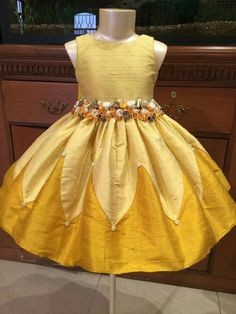 Yellow is part of a life journey Girls Frock Design, Kids Frocks Design, Baby Frocks Designs, Baby Dress Design, Baby Girl Party Dresses, Dresses Kids Girl, Kids Outfits, Kids Dress Wear, Kids Gown