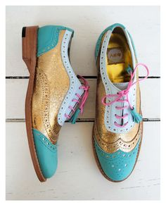 ABO mint & gold brogues #abo#aboshoes#brogues#gold#mint#spring