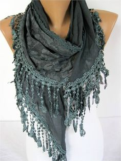 Dark Green scarf women scarves  guipure   fashion by MebaDesign. [Can also be used as a chapel veil.]