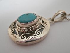 Tibetan turquoise pendant. Sterling silver hand by SuloJewellery, $38.00 #turquoisependant #turquoisesilver