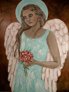 Folk Art Angel Bouquet Print of Painting by Lore by lore12 on Etsy