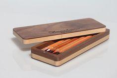 Wooden case - Case - Pencil holder - Pen holder - Holder - Magnetic